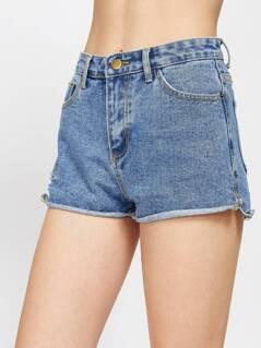 Roll Hem Denim Shorts