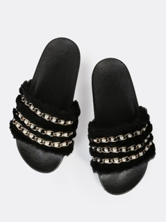 Faux Fur Pearl Link Slides BLACK