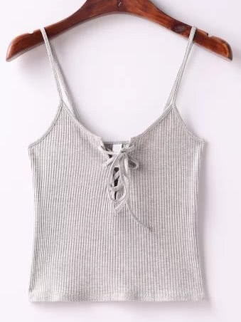 Grey Ribbed Lace Up Cami Top dark grey ribbed trim drop shoulder lace up sweatshirt