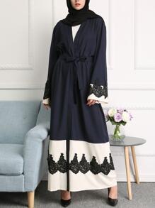 Color Block Lace Appliques Embellished Belted Longline Abaya