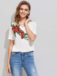Strappy V Neck Embroidery Applique Tee