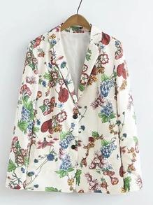 Модный блейзер с карманом и цветочным принтом