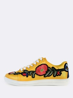 Embroidered Lace Up Sneakers YELLOW