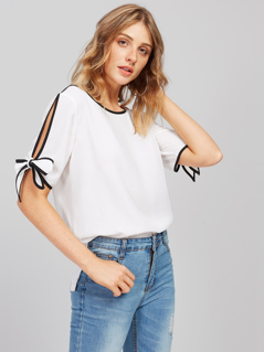 Contrast Binding Slit Sleeve Top