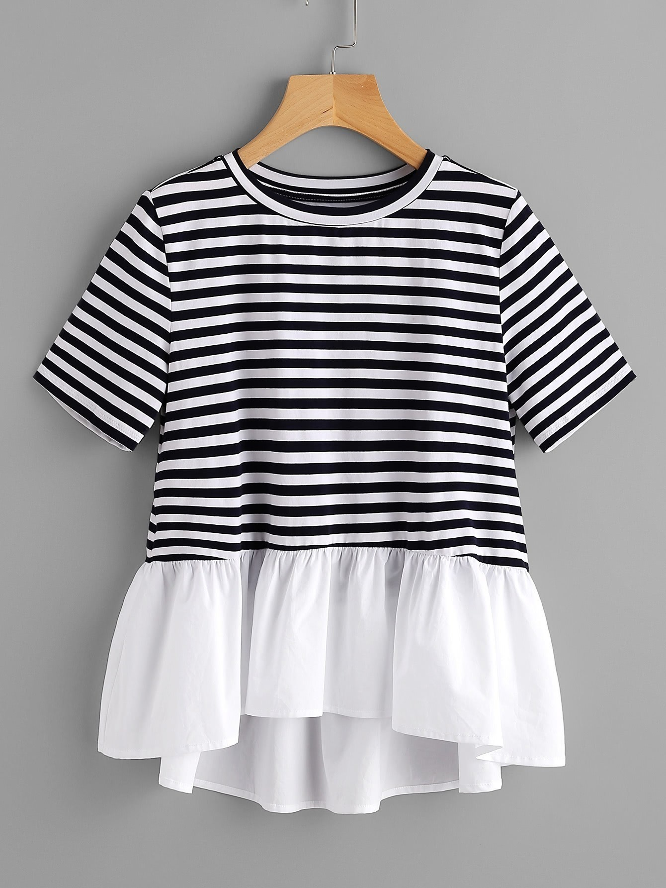 Contrast Frill Trim Striped Tee contrast trim ribbed tee with striped shorts