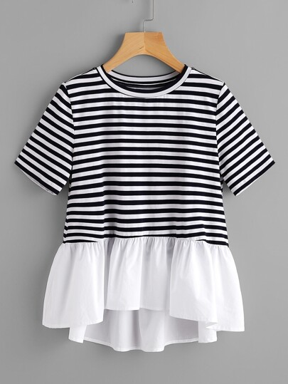 Contrast Frill Trim Striped Tee