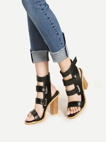 Sandales à talons hauts en PU avec lacet