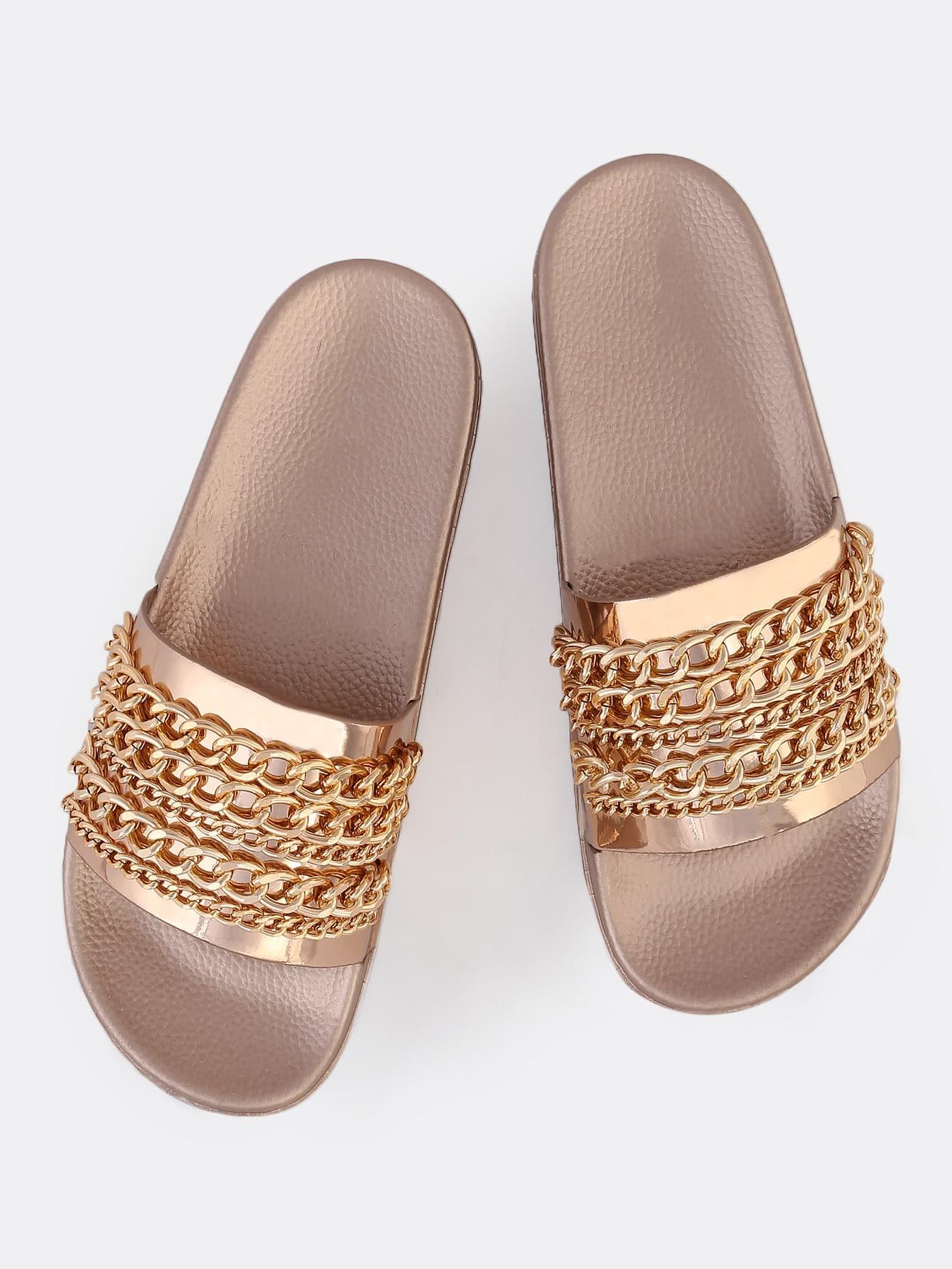 Metallic Chain Link Slides ROSE GOLD рюкзак gold metallic rose gold