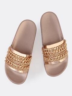 Metallic Chain Link Slides ROSE GOLD