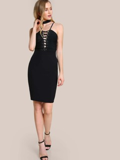 Choker Lace Up Dress BLACK