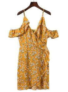 Cold Shoulder Ruffle Trim Wrap Dress
