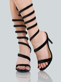 Velvet Coil Stiletto Heels BLACK