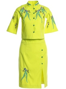 Leaves Embroidered Top With Split Skirt