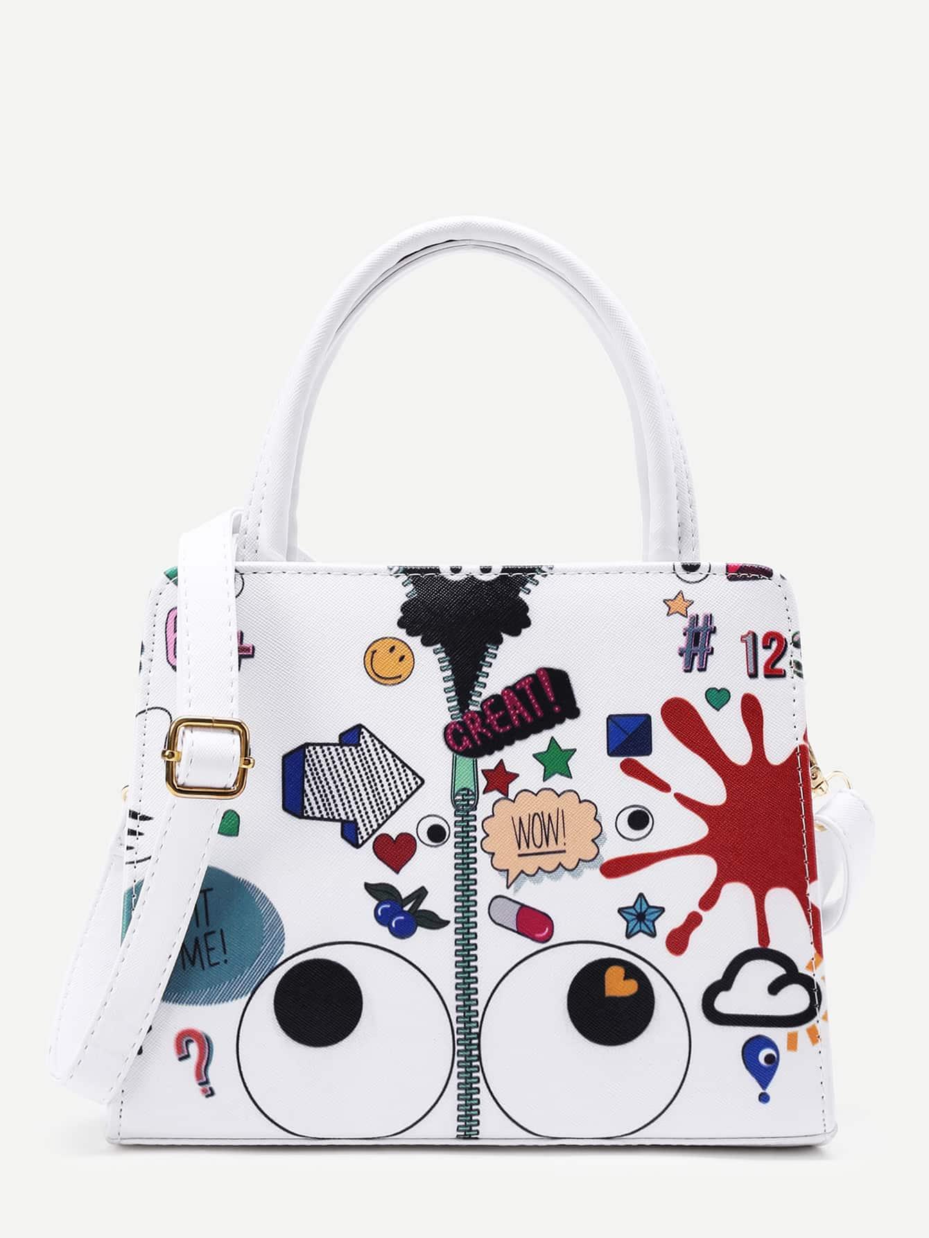 Фото Eye And Zipper Print PU Grap Bag. Купить с доставкой