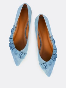Frilly Trim Denim Flats BLUE DENIM