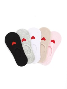Heart Pattern Invisible Socks 5pairs