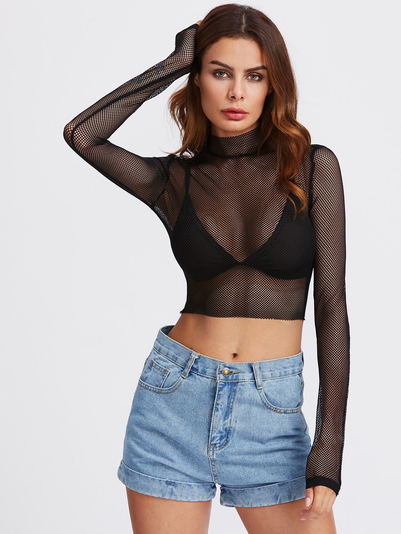 Eyelet Mesh Mock Neck Crop Top
