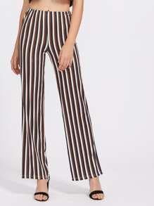 Pantalons jambe large à rayures