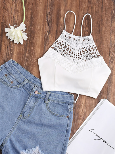 Lace Up Back Contrast Lace Cami Top