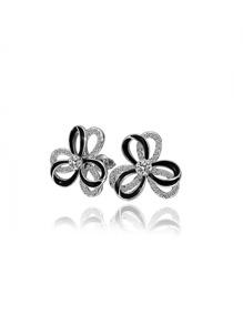 Rhinestone Two Tone Flower Stud Earrings