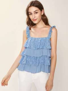 Ruffle Strap Layered Cutout Flower Top