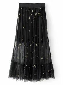 Star Embroidered Mesh Overlay Skirt