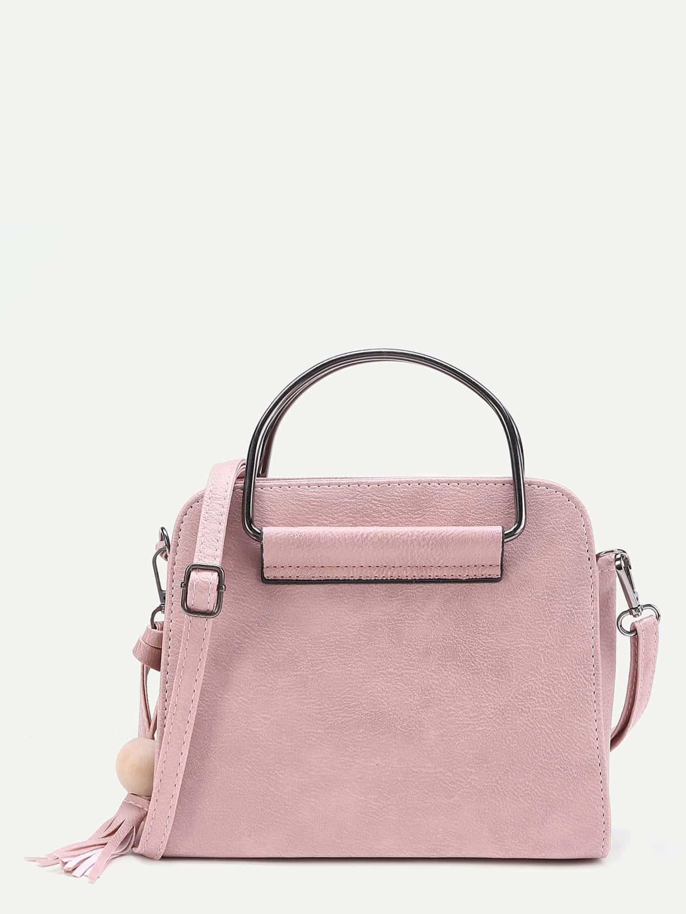 Фото Tassel Detail PU Shoulder Bag With Handle. Купить с доставкой