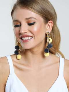 Dangling Pom Pom Chained Earrings MULTI