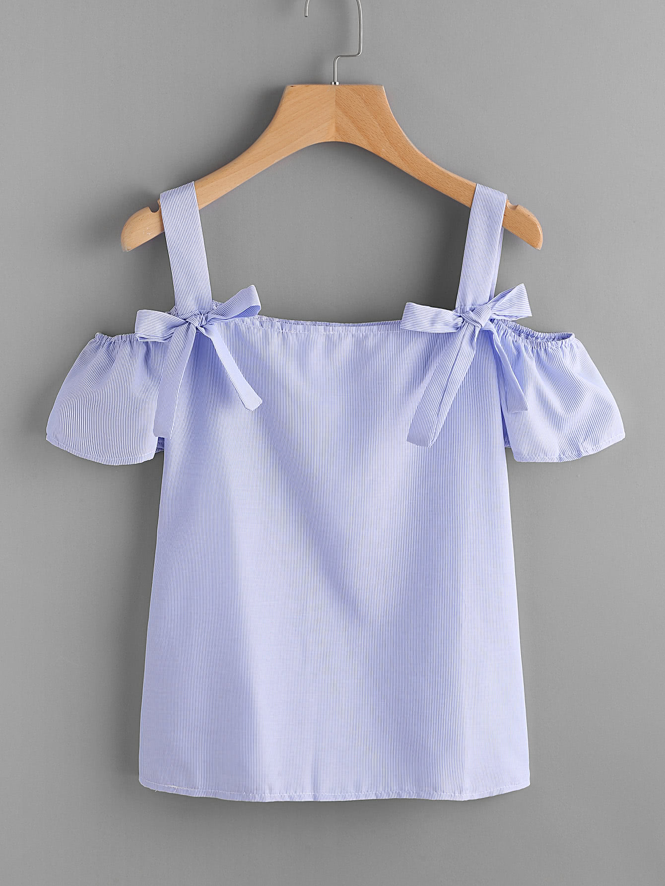 Pinstriped Bow Tie Detail Top allover florals bow tie detail frill top with shorts