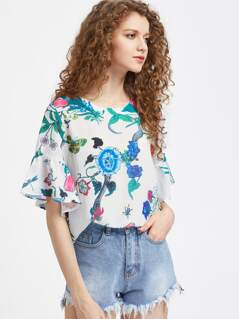 Ruffle Cuff Flower Print Top