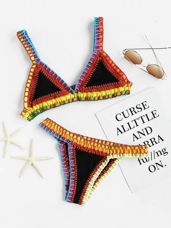 Crochet Trim Triangle Bikini Set  8225a7349