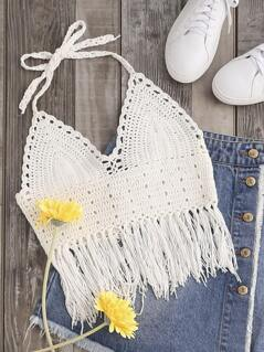Knot Fringe Trim Lace Up Back Halter Crochet Top