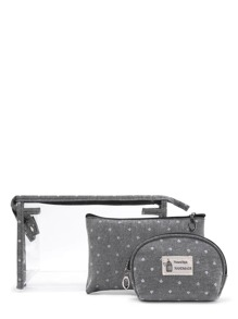 Crown Print Makeup Bag 3pcs