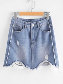 Bleach Wash Ripped Raw Hem Denim Skirt