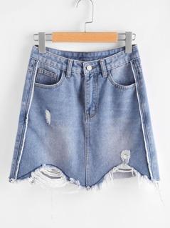 Bleach Wash Ripped Raw Hem Denim Skirt
