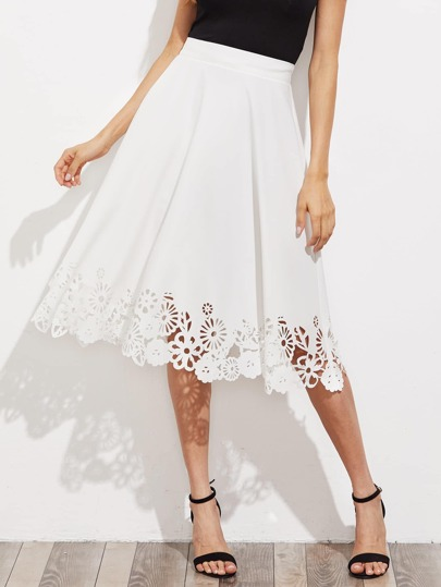 Zip Back Flower Laser Cut Skirt