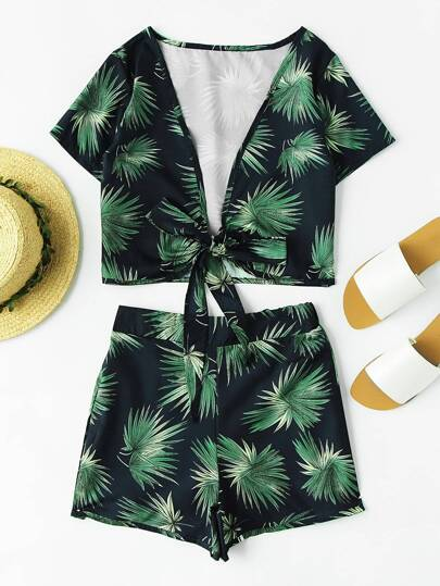 Plunging V-neckline Bow Tie Leaf Print Top With Shorts