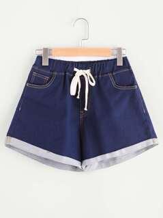 Drawstring Waist Cuffed Topstitch Denim Shorts