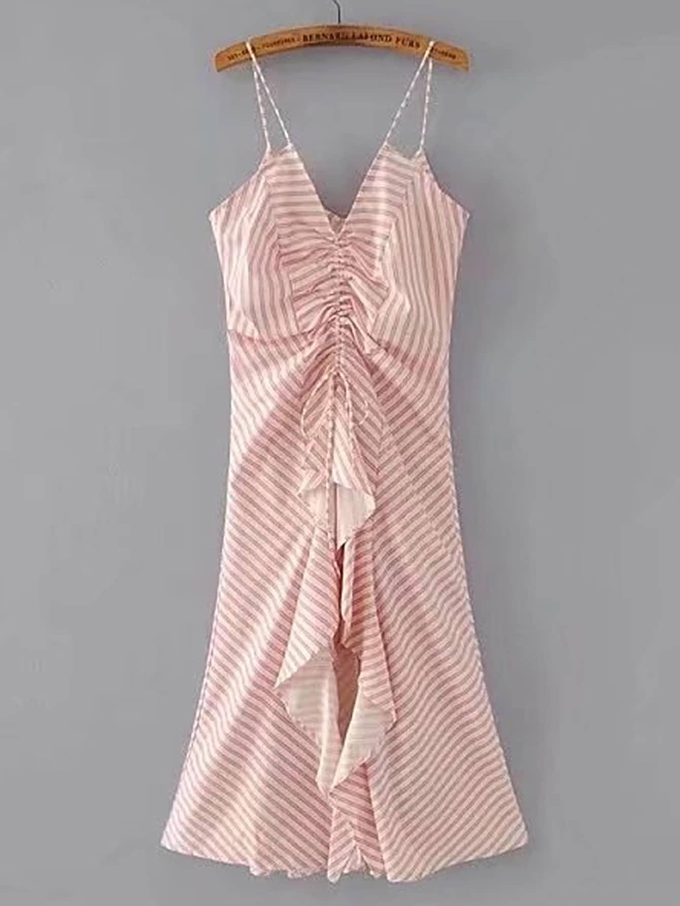 Фото Shirred Lace Up Ruffle Trim Cami Dress. Купить с доставкой