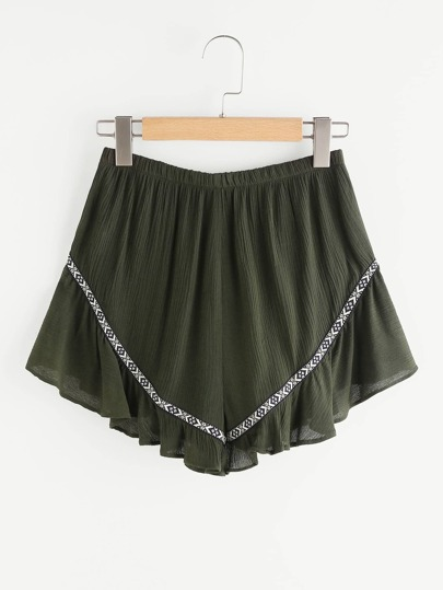 Embroidered Tape Detail Frilled Crinkle Shorts