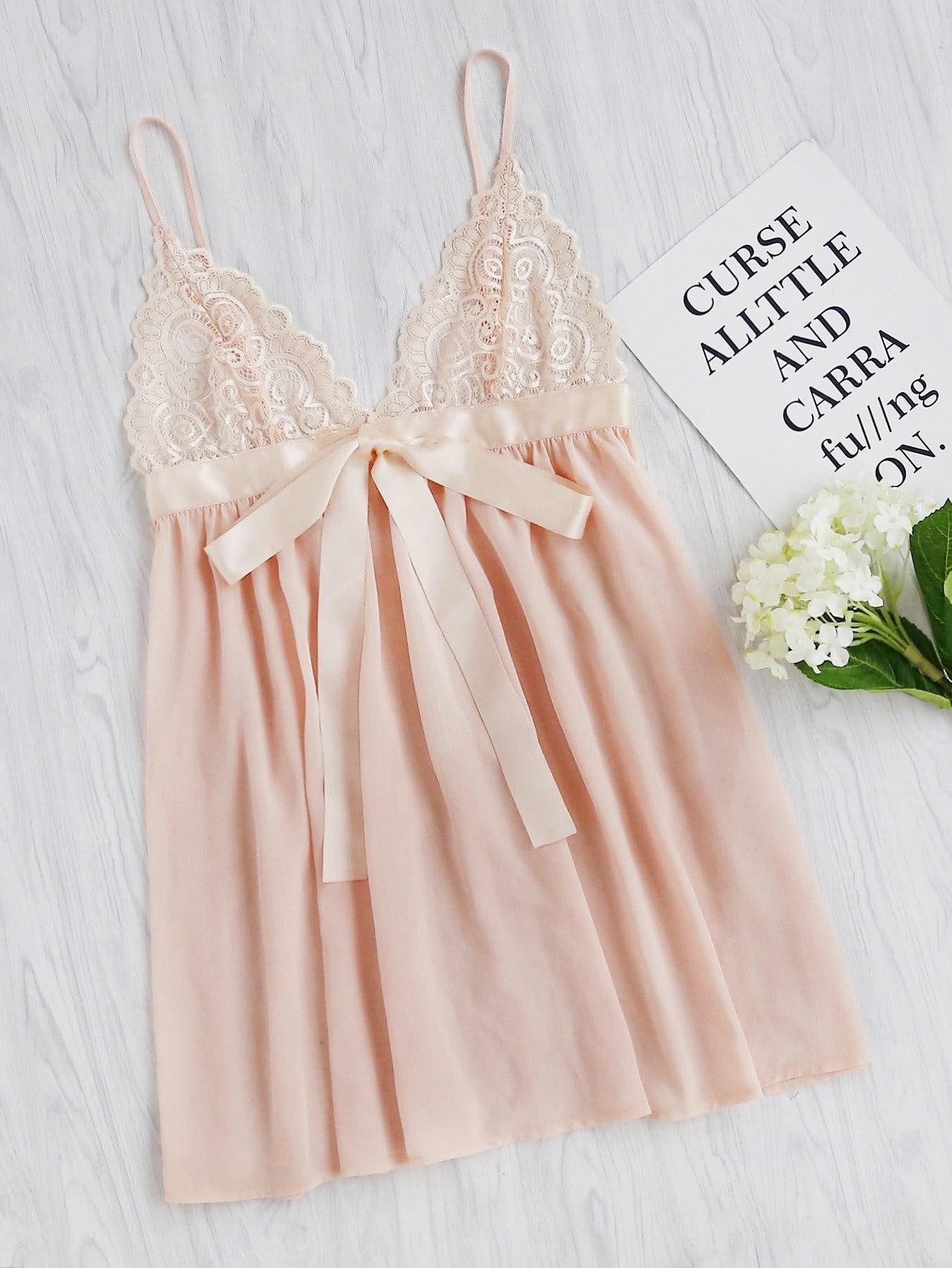 Lace Cup Sash Detail Babydoll Slip Dress lingerie170605704