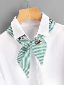 Модный шарф-твилли в полоску с цветочной вышивкой