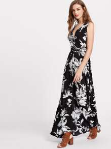 Flower Print Criss Cross Back Infinity Wrap Dress