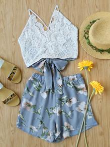 Кружевная панель Criss Cross Bow Tie Back Cami Top с цветочными шортами