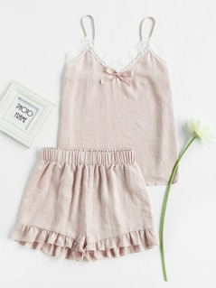 Lace Trim Bow Detail Cami And Ruffle Shorts Pajama Set