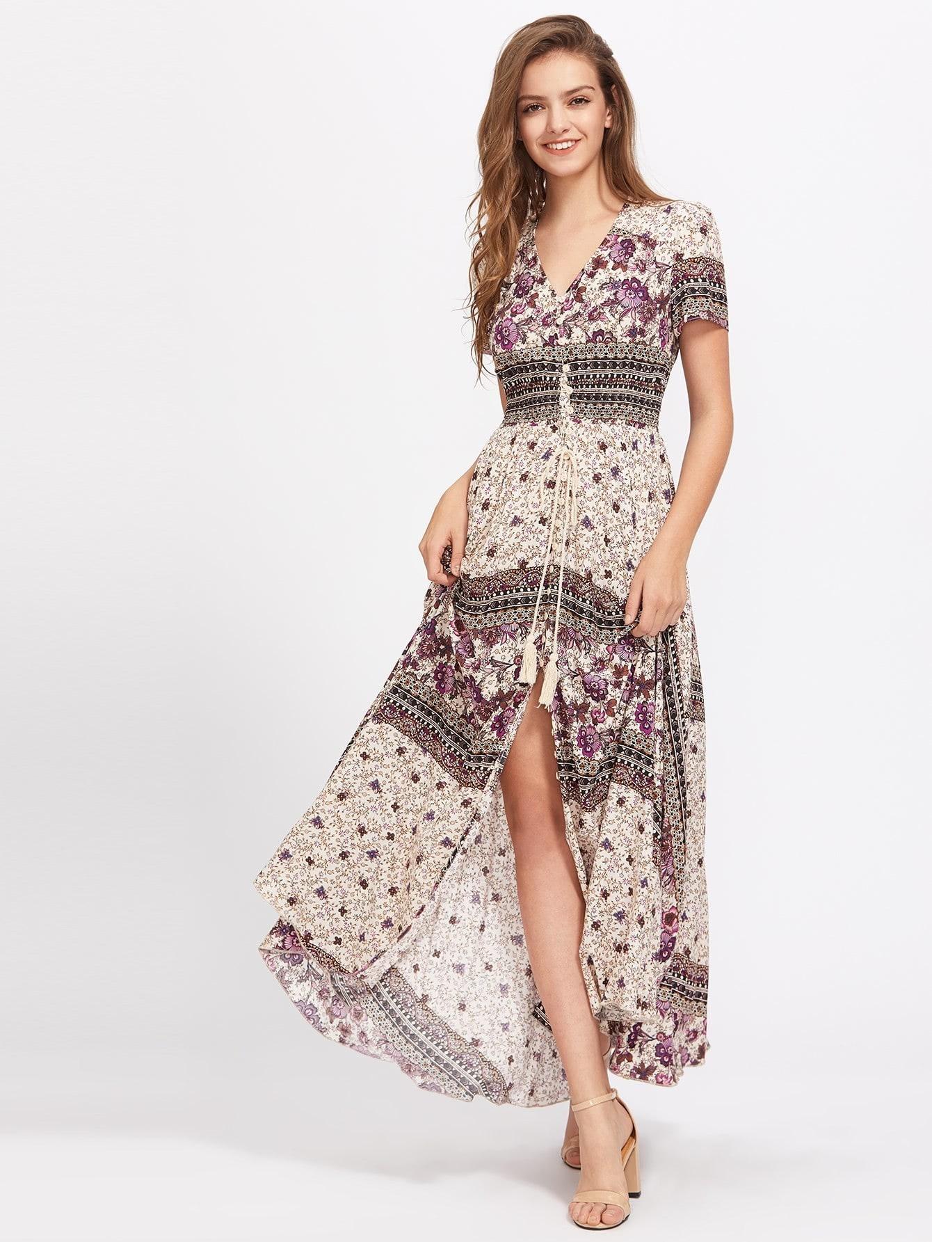 Tasseled Tie Smocked Waist Mixed Print Dress mixed print dress