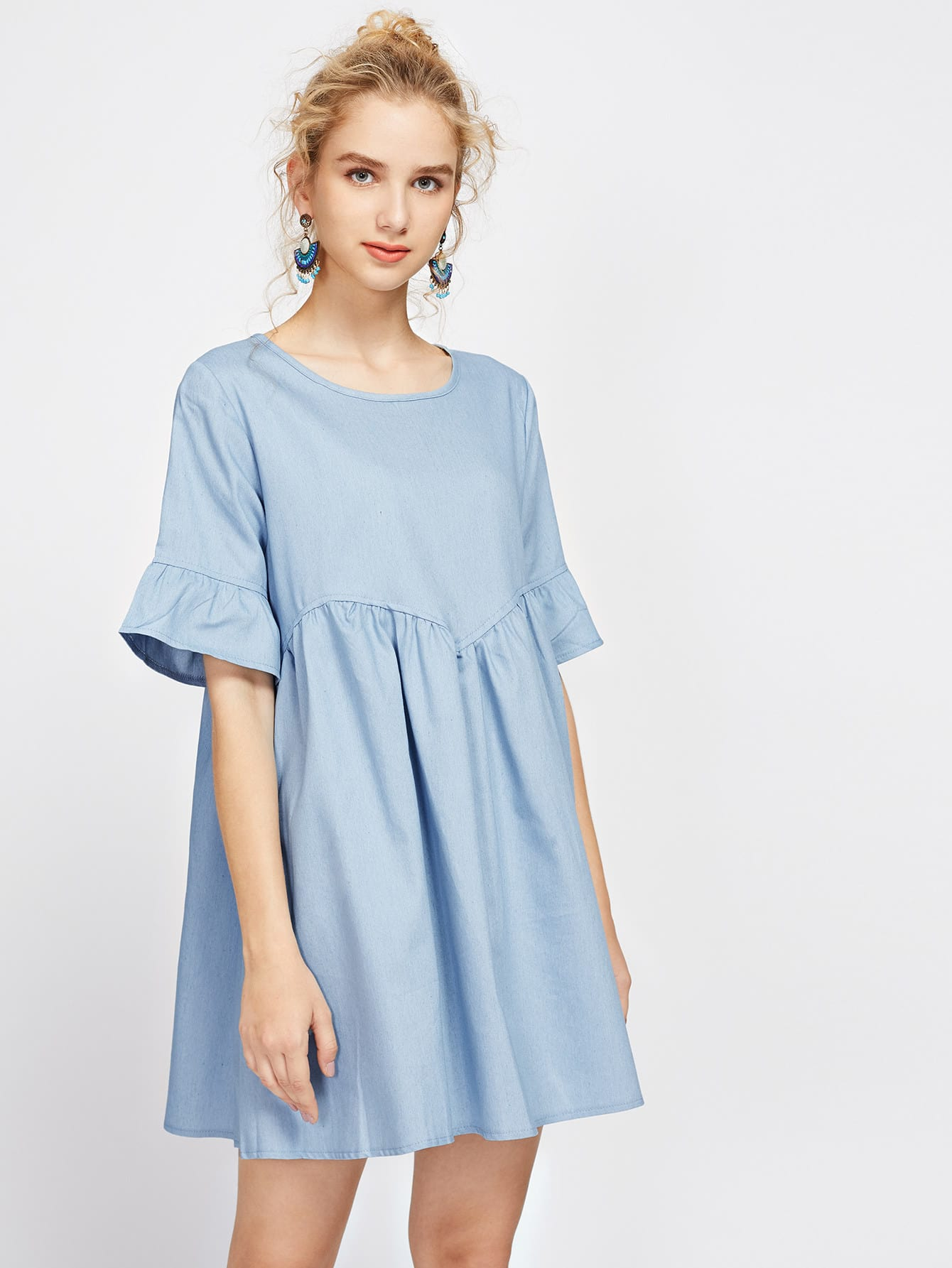 цены Bell Cuff Keyhole Back Smock Dress