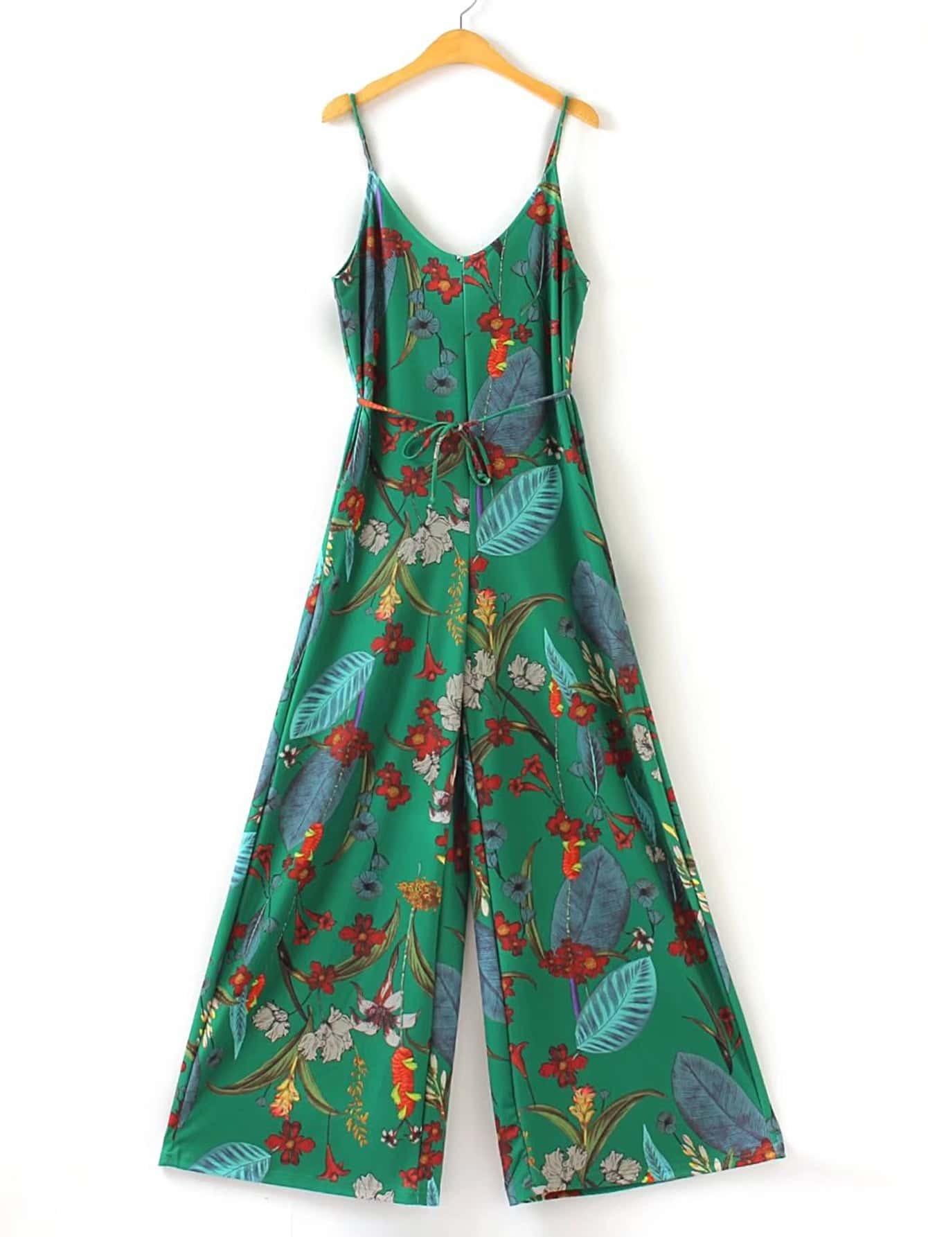 Фото Cami Straps Floral Print Jumpsuit With Self Tie. Купить с доставкой