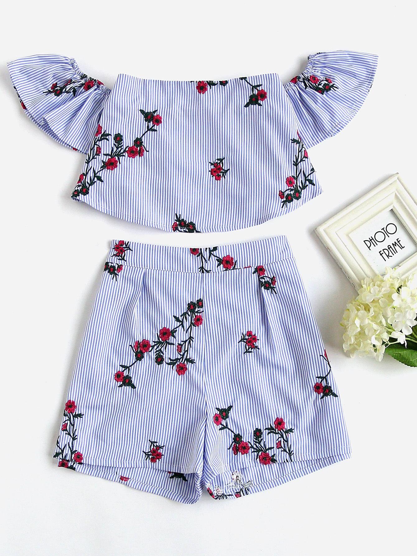 Фото Flower Embroidered Flounce Bardot Top And Shorts Set. Купить с доставкой