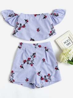 Flower Embroidered Flounce Bardot Top And Shorts Set